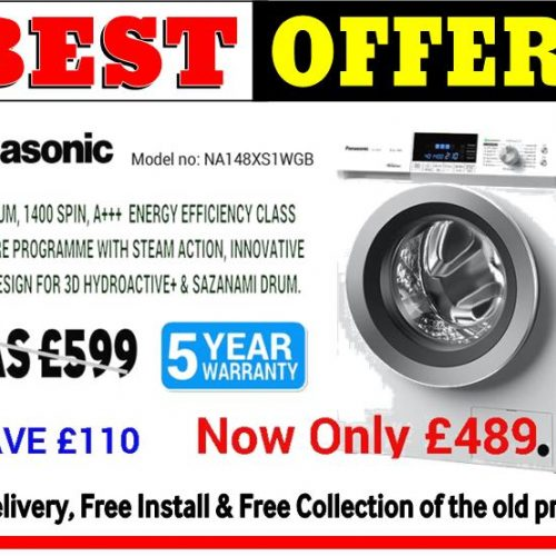 Panasonic 8KG Washer A+++ Rated with Steam_ Offer 2 (NA148XS1WGB)